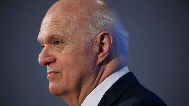 Lou Lamoriello speaks to reporters in Toronto, Friday,