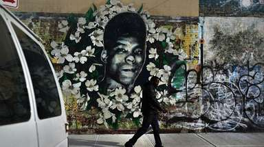 This graffiti memorial pays tribute to Yusef Hawkins,