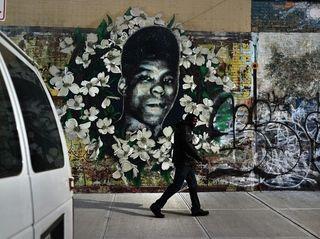 This graffiti memorial pays tribute to Yusef Hawkins,