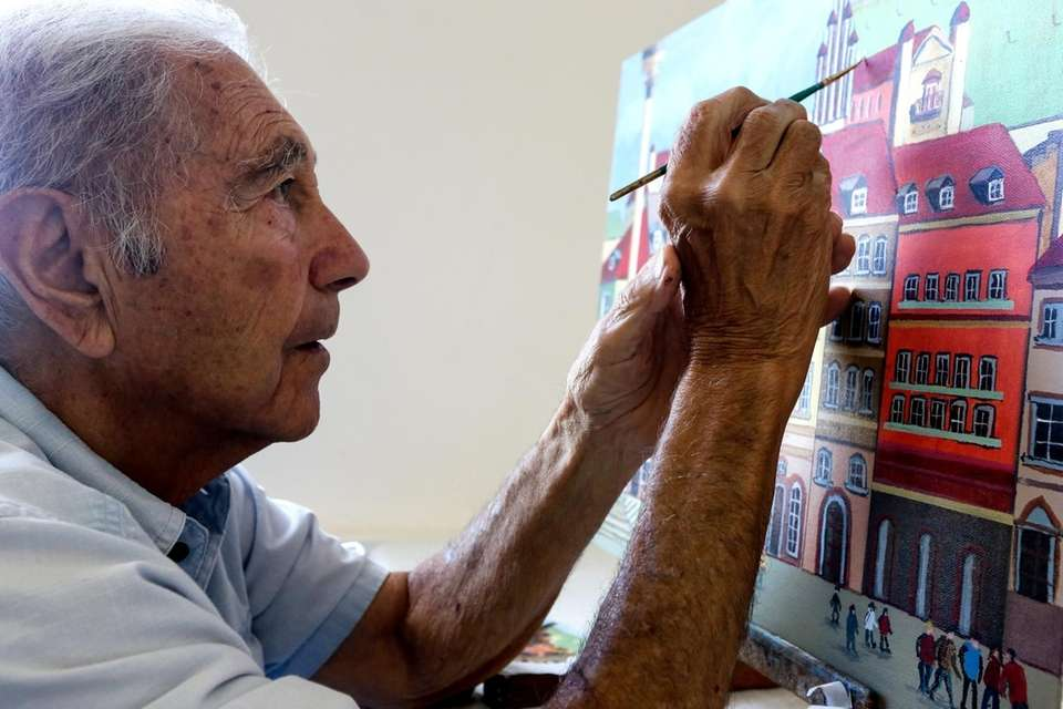 Daniel Marro, 91, of Lido Beach, works on
