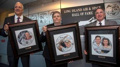 From left, astronaut Michael Massimino; Newsday Editor Deborah