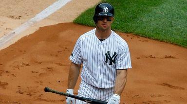 Brett Gardner of the Yankees looks on after