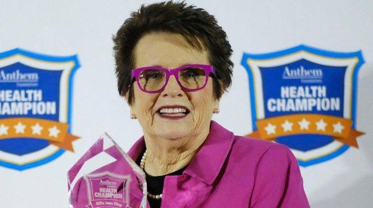 Tennis legend Billie Jean King shows off the