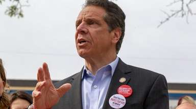 New York Governor Andrew Cuomo appears at an