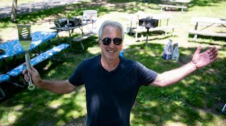Kevin Omeis is ready to barbecue on a