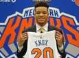 The Knicks' Kevin Knox poses for portraits during