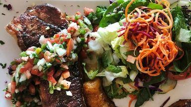 Churrasco-style strip steak with pico de gallo, fried