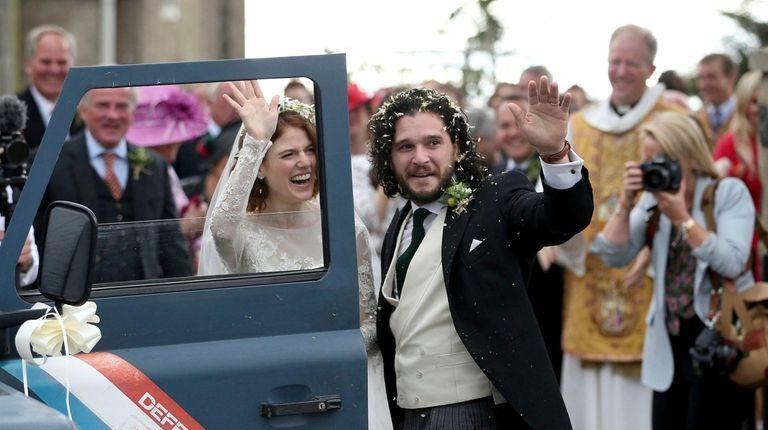 Actors Kit Harington and Rose Leslie leave after