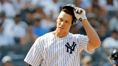 Aaron Judge of the Yankees strikes out to