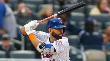 Jose Bautista of the Mets bats in the