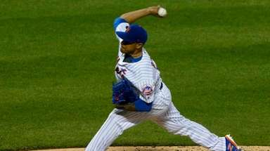 Mets reliever A.J. Ramos pitches in the sixth