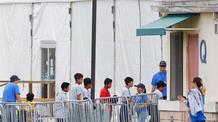 Immigrant children outside a shelter in Homestead, Fla.
