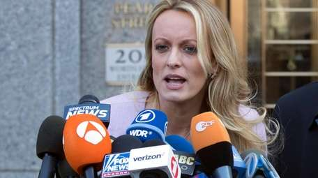Porn actress Stormy Daniels speaks outside federal court