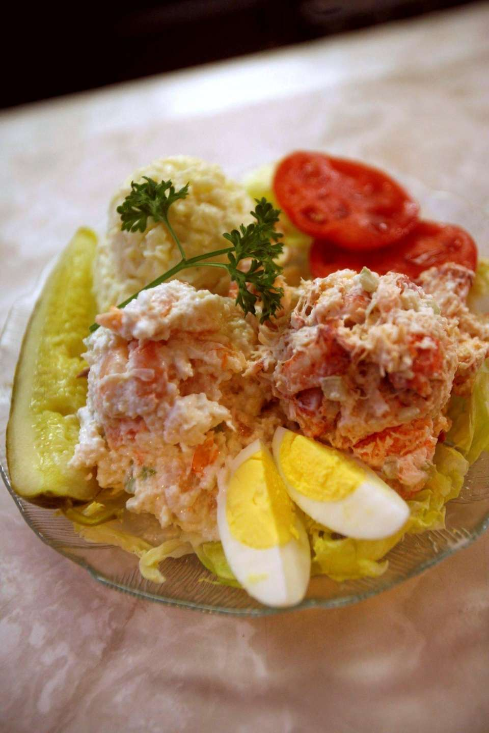 The lobster salad, right, and shrimp salad, left,