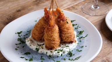 Garides kataifi, jumbo shrimp wrapped in shredded phyllo,