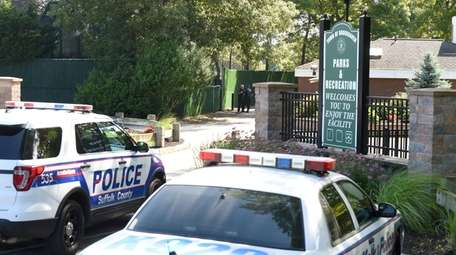Suffolk County police at the Holtsville Ecology site