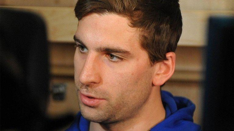 John Tavares speaks with the media after Islanders