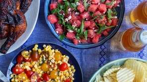 Buttermilk brined chicken, watermelon salad and corn salad