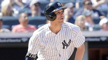 Yankees first baseman Greg Bird follows the flight