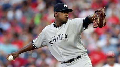 Starting pitcher Luis Severino of the Yankees throws