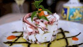 Tortino di polpo e patate, or marinated octopus