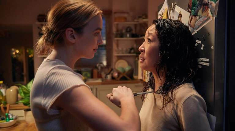 Villanelle (Jodie Comer), left, and Eve (Sandra Oh)