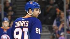 Islanders center John Tavares skates against the Rangers