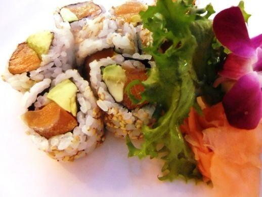 A salmon avocado roll is served at Miyako