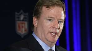 NFL commissioner Roger Goodell responds to a question
