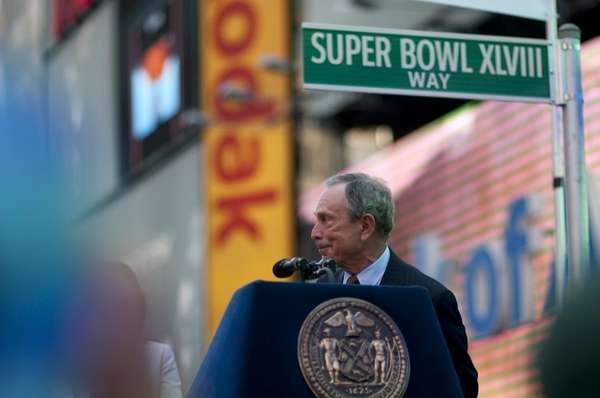 New York City Mayor Michael Bloomberg shows a