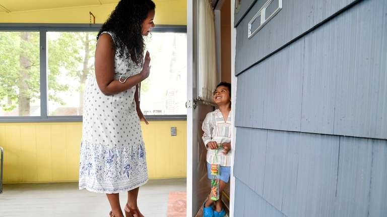 Yalissa Taveras and her son Trystan, 5, at