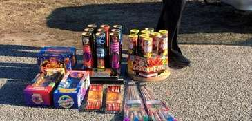 Fireworks confiscated by authorities.