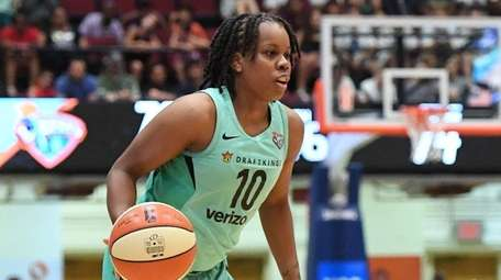 Liberty guard Epiphanny Prince looks for shooting space
