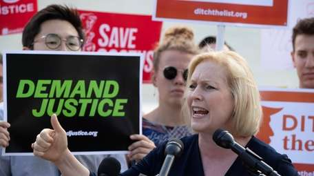 Sen. Kirsten Gillibrand, D-N.Y., joins activists at the