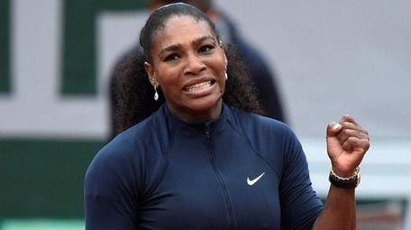 Serena Williams celebrates after her women's quarterfinal match