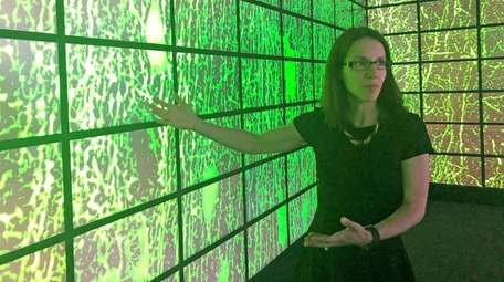 Alzheimer's researcher Dr. Christine DeLorenzo amid brain images