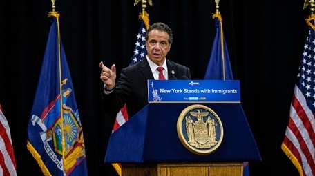 Governor Andrew Cuomo speaks during an announcement and