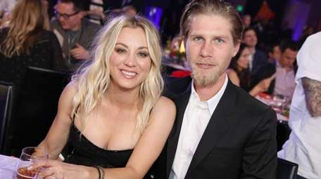 Kaley Cuoco and Karl Cook attend Seth Rogen's