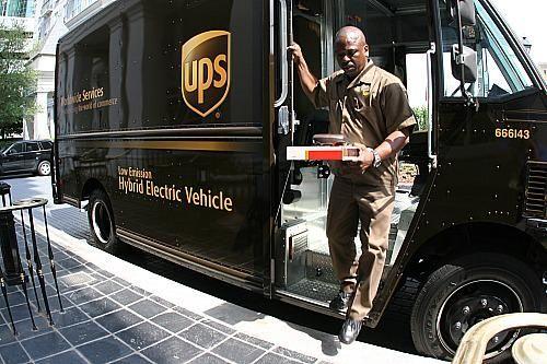 A hybrid UPS truck