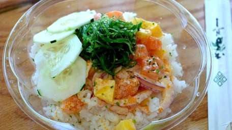 The spicy salmon poke bowl at Mr. Poke