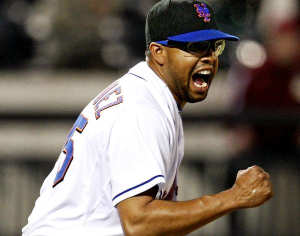Mets reliever Francisco Rodriguez reacts after getting Philadelphia's