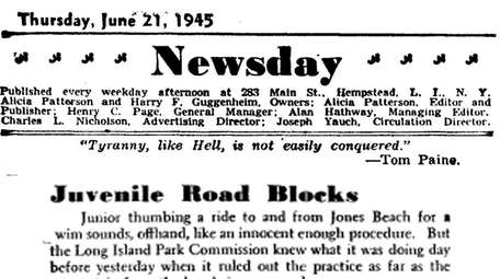 An editorial that ran on June 21, 1945.