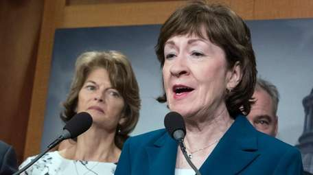 Sen. Susan Collins speaks during a news conference