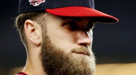 Nationals' Bryce Harper looks on against the Yankees
