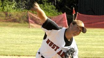 Mt. Sinai's starting pitcher Tyler Badamo (16), during
