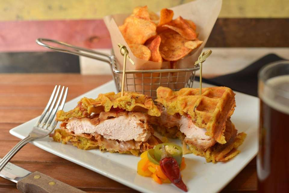 Yard bird chicken and waffle sandwich, made with