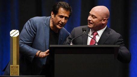 Ray Longo, left, and Matt Serra joke around