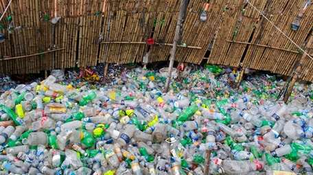A plastic bottles recycling factory in Dhaka, Bangladesh.