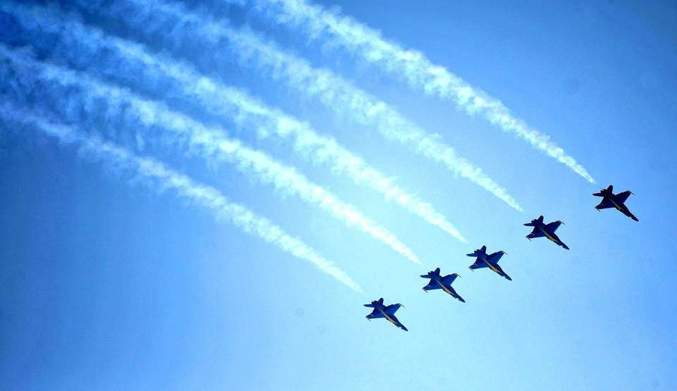 U.S. Navy Blue Angels soar through the sky