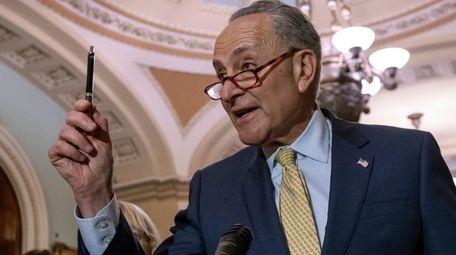 Senate Minority Leader Chuck Schumer (D-N.Y.) talks during